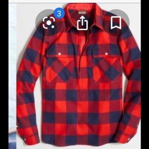 J.Crew buffalo plaid half zip shirt, L EUC